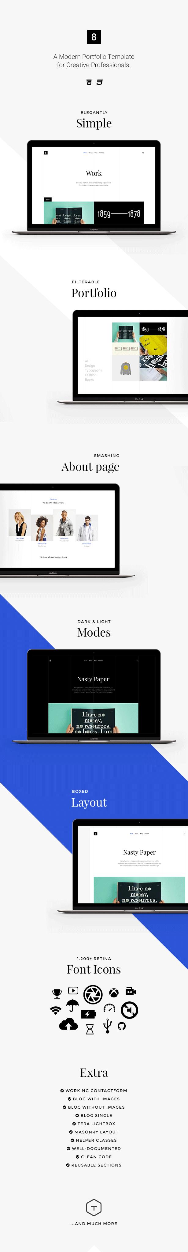 Eight | Responsive Portfolio HTML5 Template for designers, photographers, freelancers or businesses
